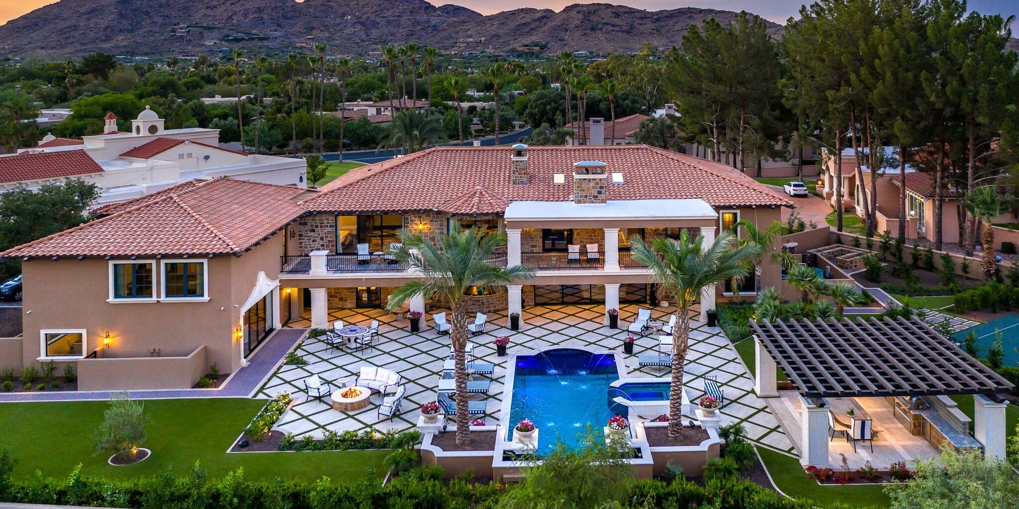 paradise villa drone shot
